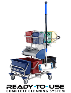Lille rengøringsvogn med fodbetjent presse